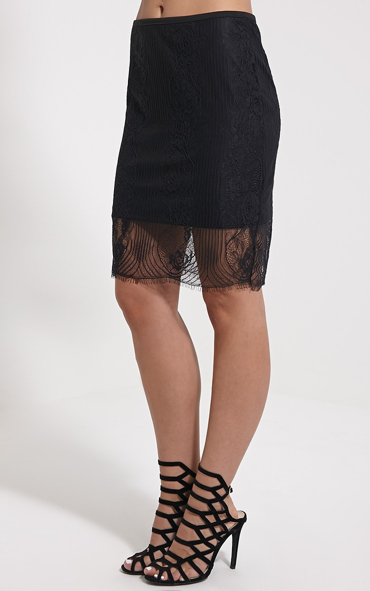 Luisa Black Lace Mini Skirt 3