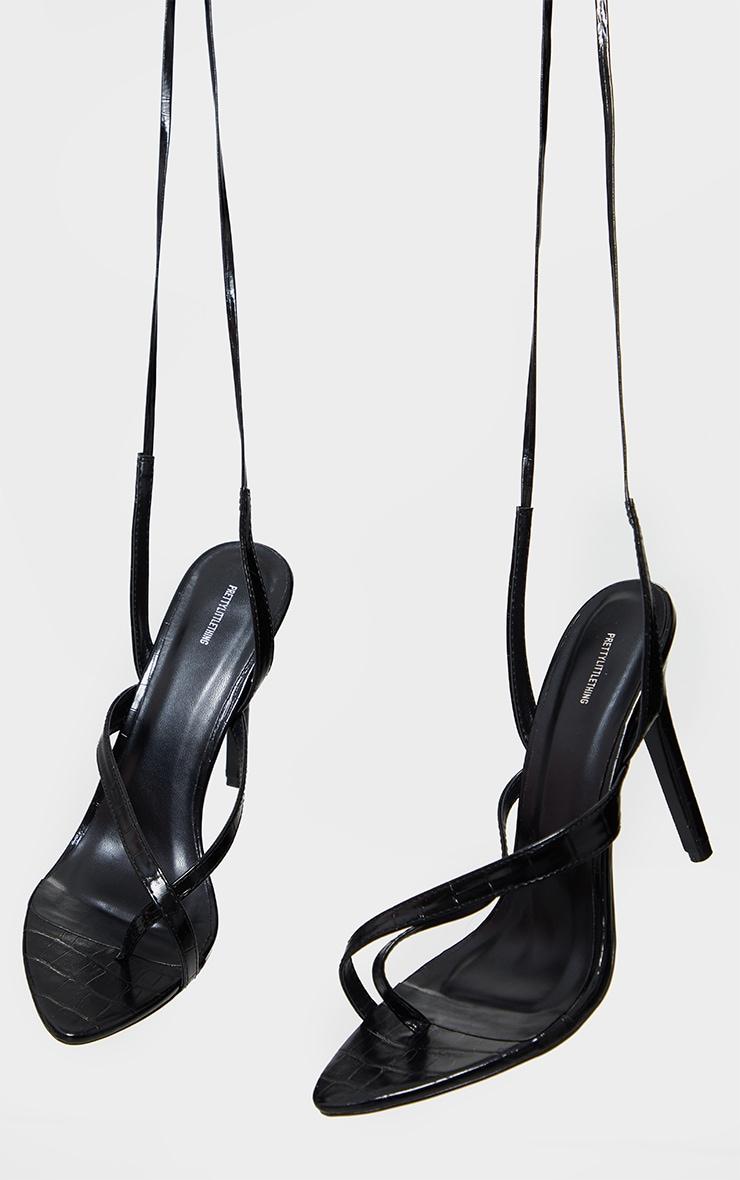 Black Cross Toe Loop Ankle Strappy High Heels 3