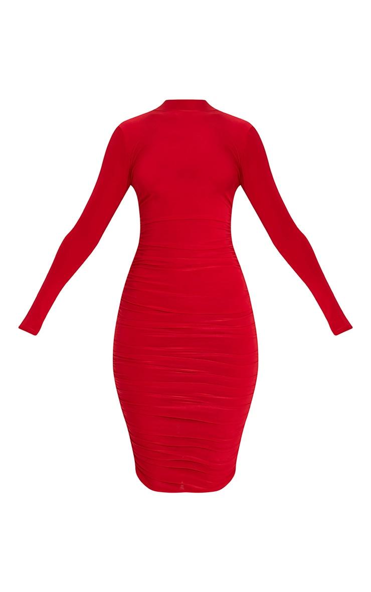 Niyah Red Slinky Ruched Midi Dress 3