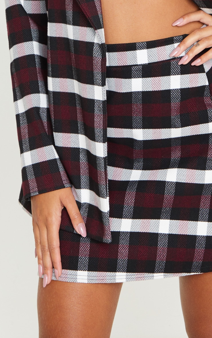 Burgundy Check High Waist A Line Mini Skirt 5