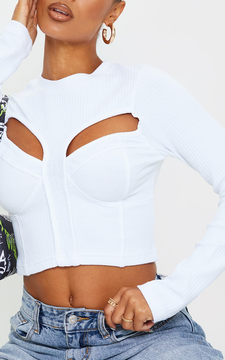 White Structured Rib Bust Cup Detail Cut Out Long Sleeve Crop Top 4
