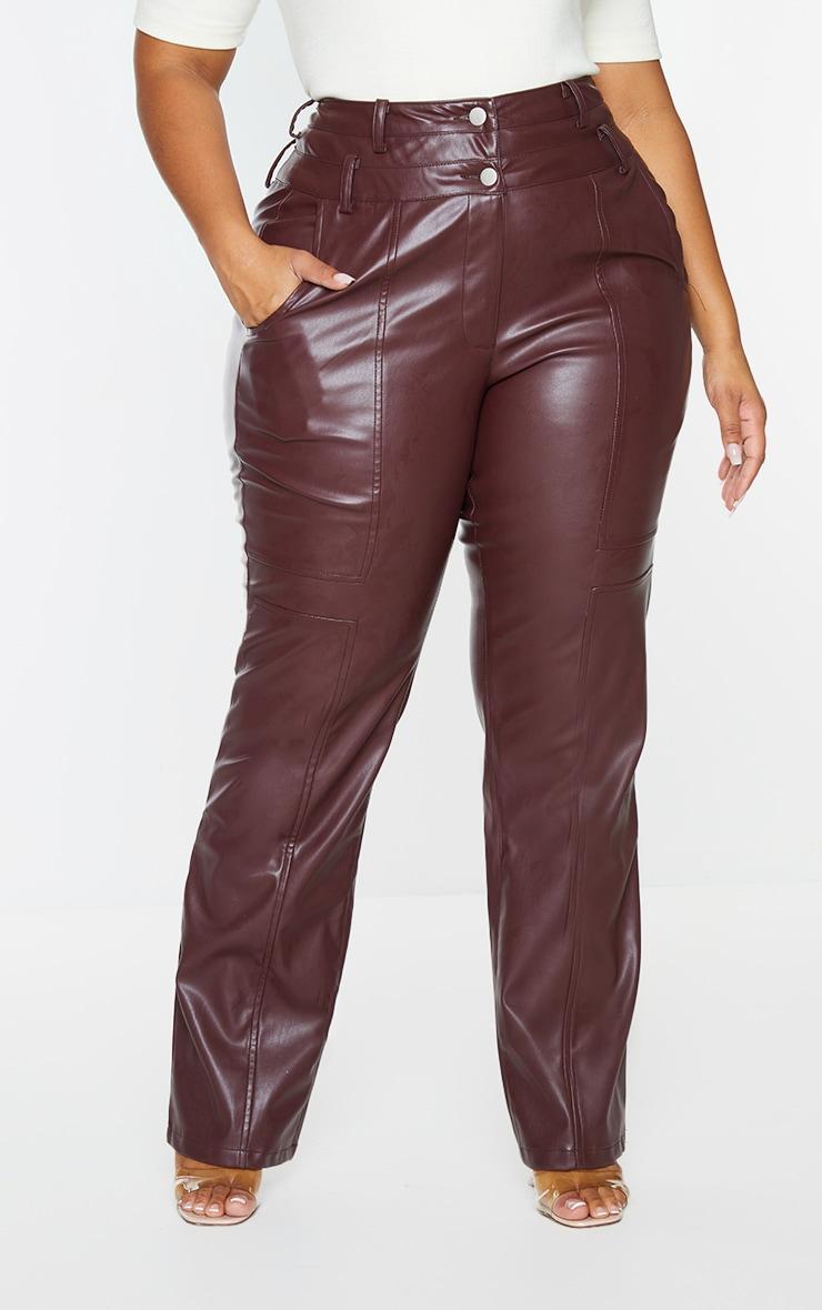 Plus Purple Faux Leather Double Waistband Straight Leg Pants 2