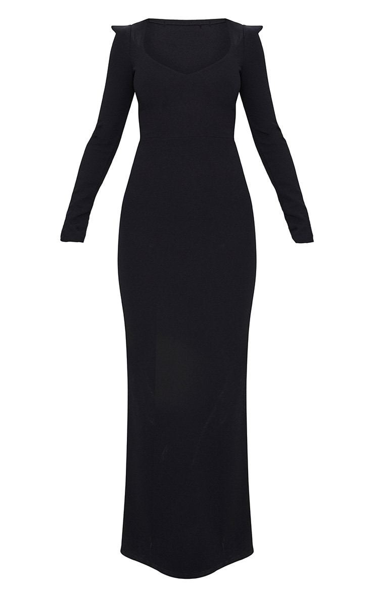 Black Pointed Shoulder Extreme Split Maxi Dress 3