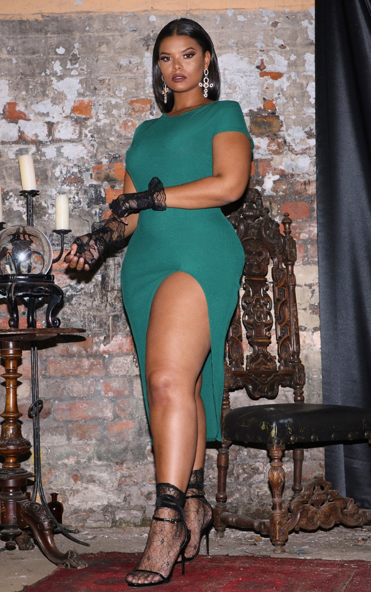 Plus Emerald Green Ribbed Extreme Split Cap Sleeve Midi Dress 4
