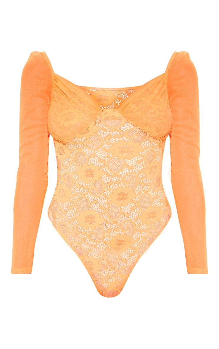Orange Chiffon Sleeve Lace Bodysuit 3
