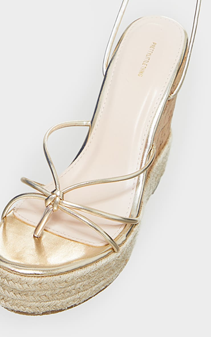 Gold Toe Thong Strappy Espadrille Wedges 4