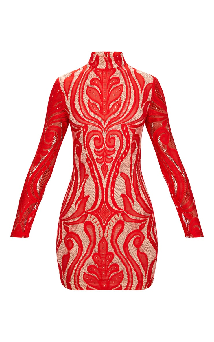 Red High Neck Long Sleeve Lace Bodycon Dress  3