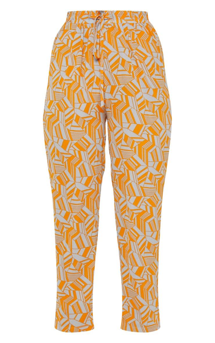Neon Orange Printed Cigarette Trouser 3