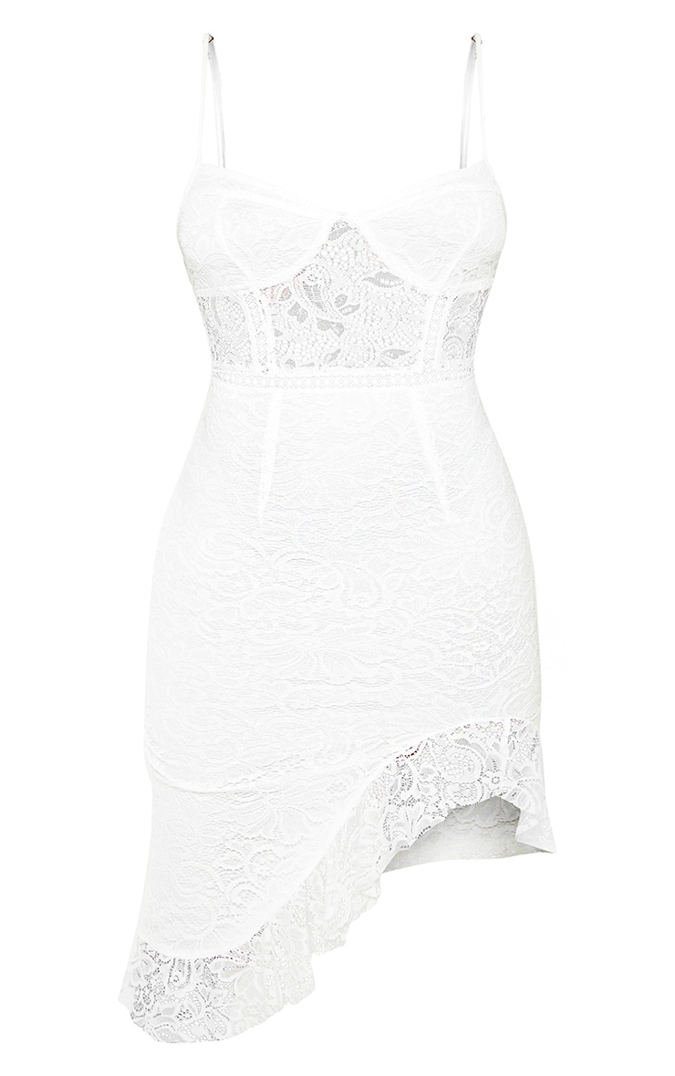 Petite White Lace Side Split Bodycon Midi Dress 3
