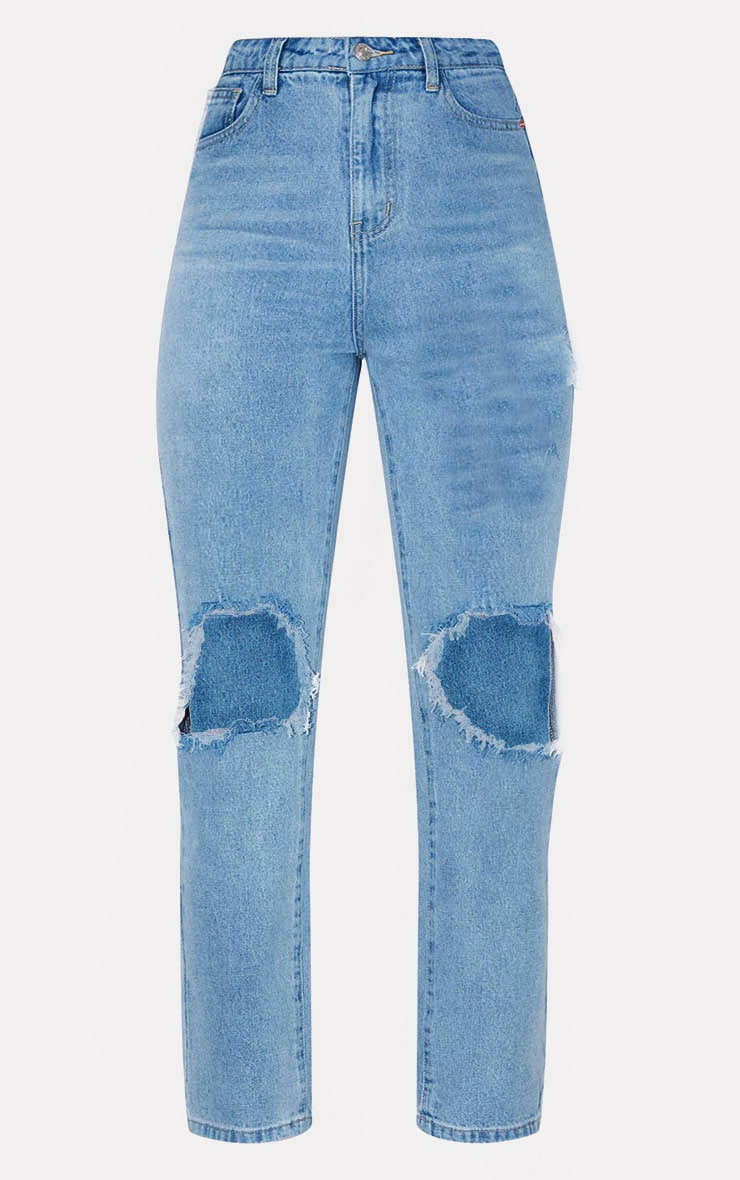 PRETTYLITTLETHING Mid Blue Knee Rip Straight Leg Jean 3