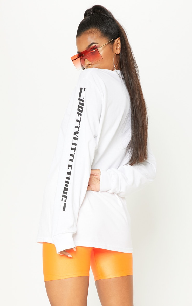 PRETTYLITTLETHING White Slogan Long Sleeve Top 2