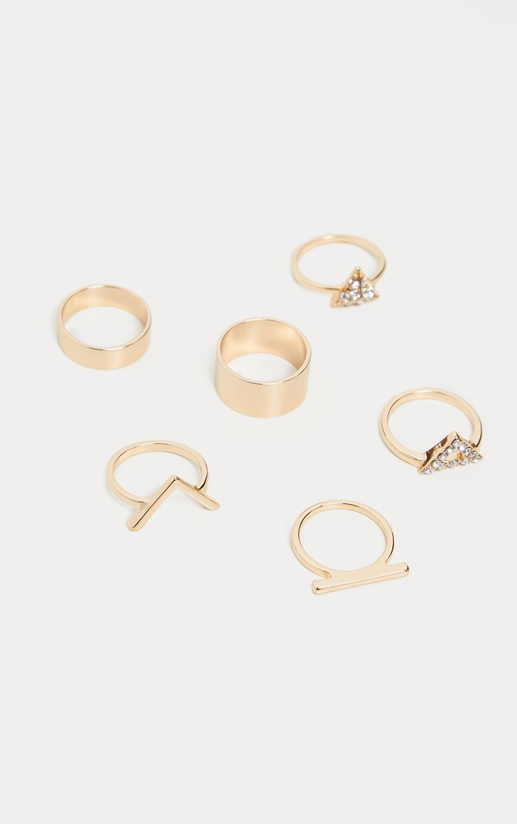 Gold V Shape Ad Diamante Ring Set 1