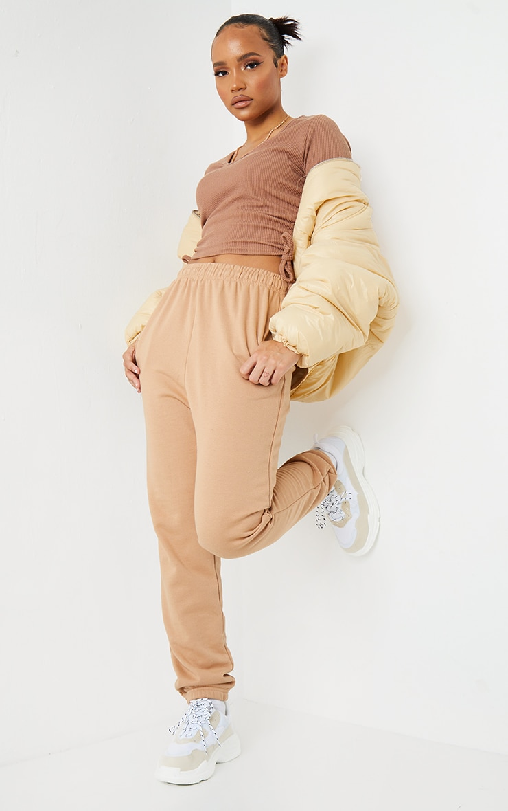 Camel Textured Rib V Neck Ruched Side T Shirt 3