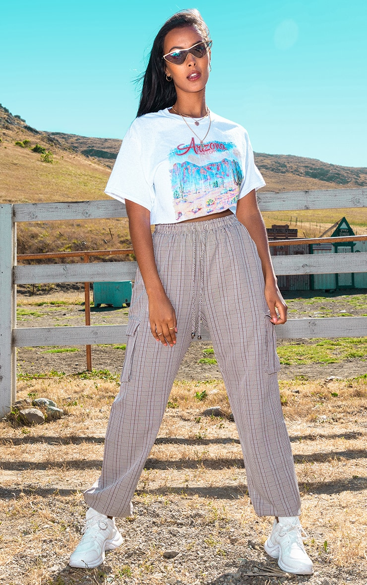 Brown Check Drawstring High Waisted Trousers 1