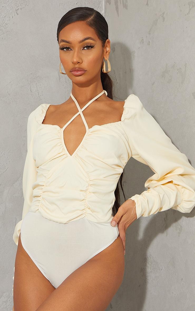 Cream Woven Halterneck Long Sleeve Bodysuit 2