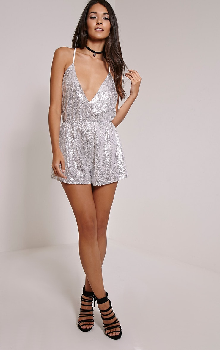Tay Silver T Bar Sequin Playsuit 4