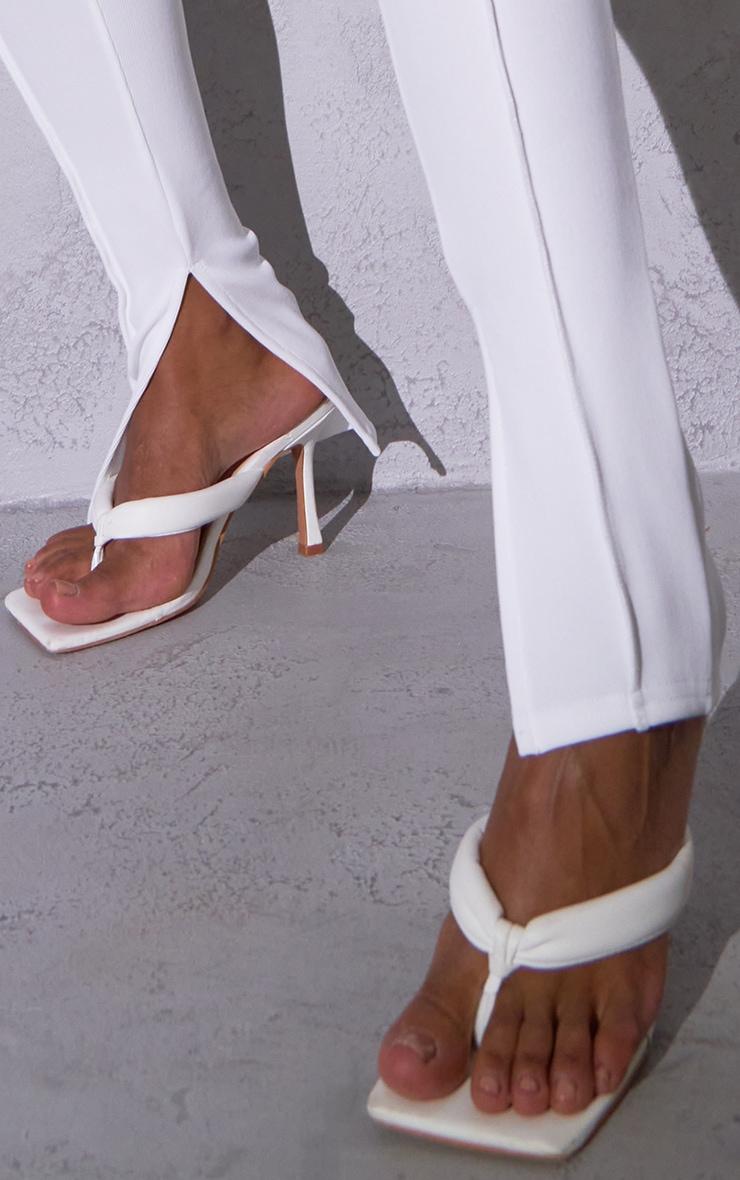 RENEW Cream Rib Contrast Seam Split Hem Leggings 4