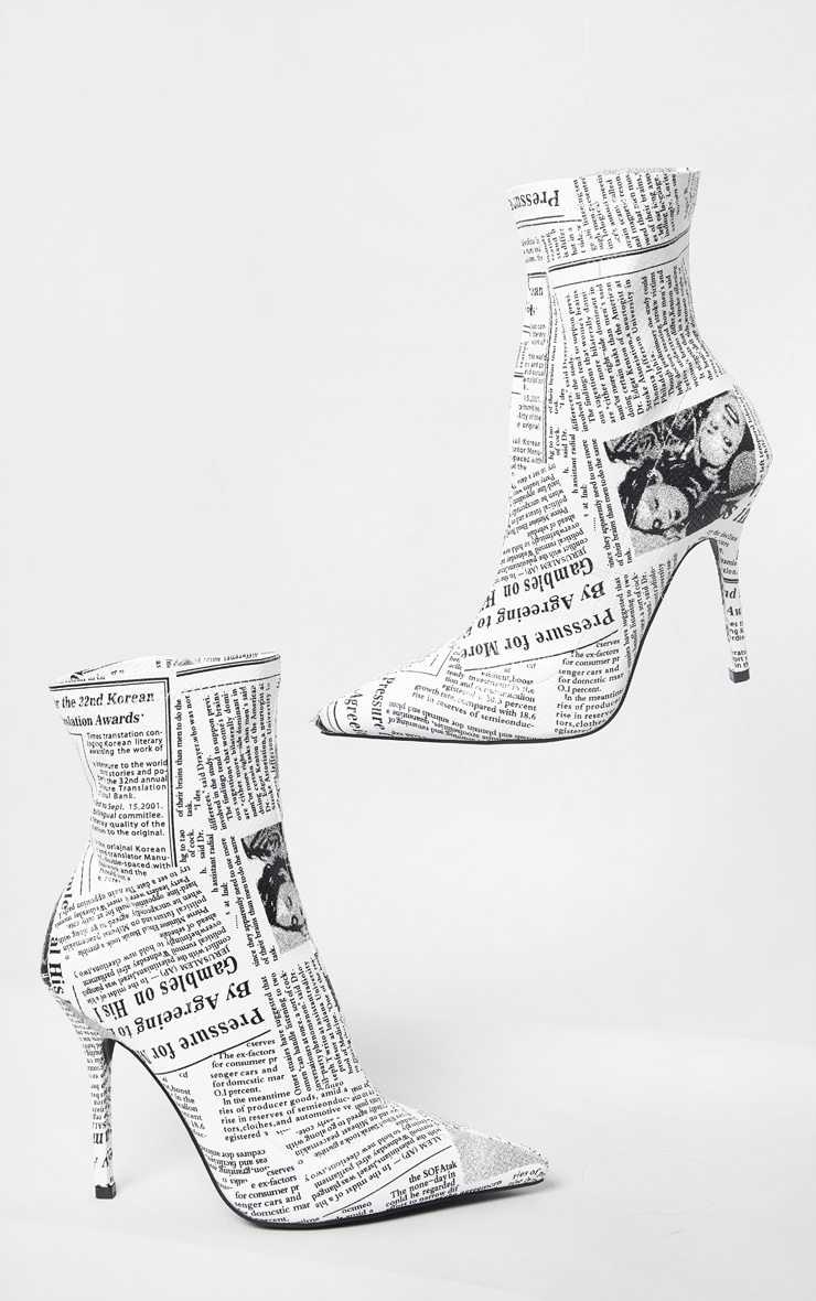 White Newspaper Print High Heel Pointed Boots 3