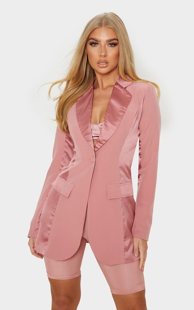 Blush Satin Contrast Fitted Longline Blazer