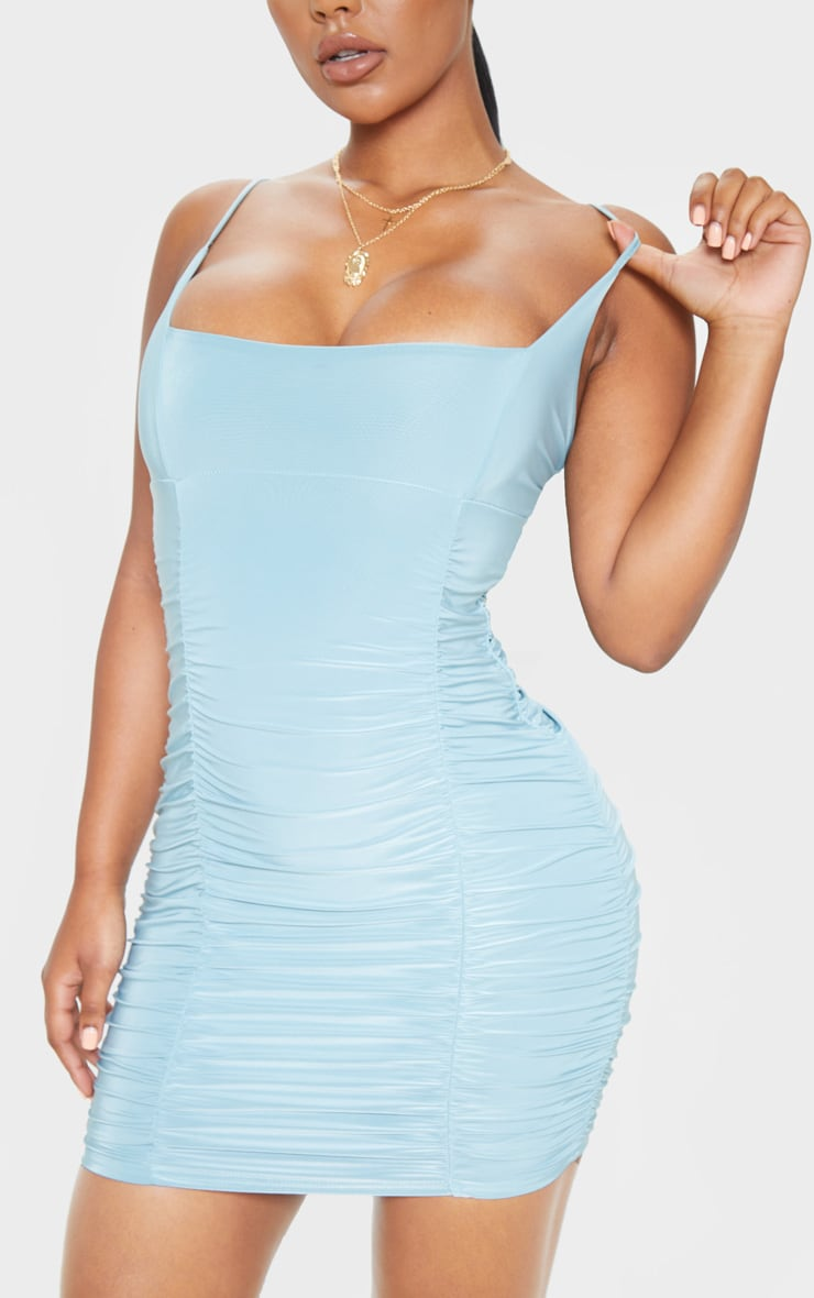 Dusty Turquoise Slinky Strappy Ruched Side Detail Bodycon Dress 5