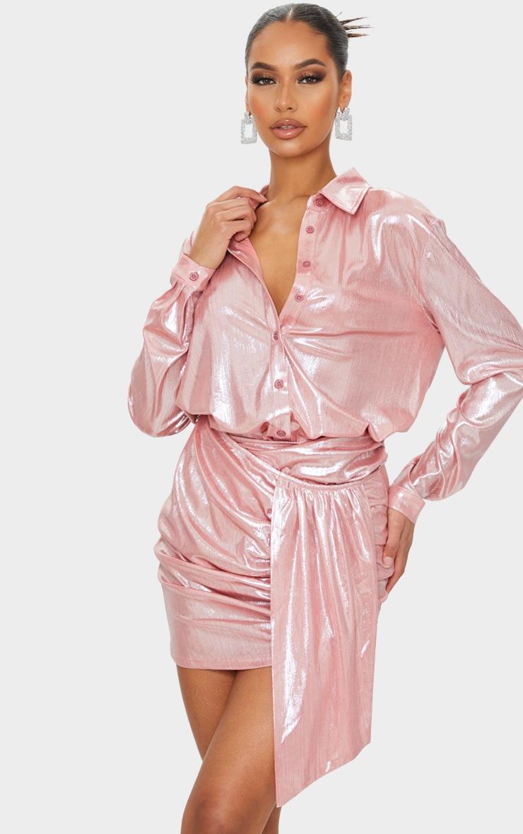 Pink Metallic Ruched Mini Skirt 4