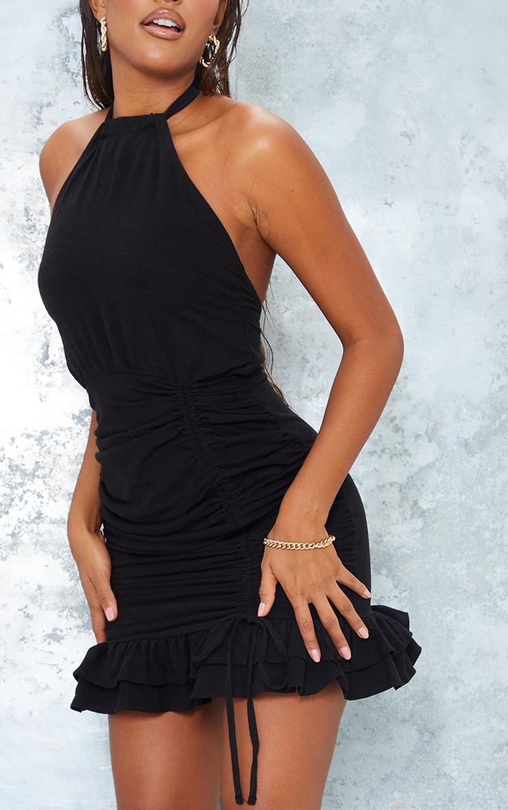 Black Linen Look Halterneck Ruched Skirt Bodycon Dress 4