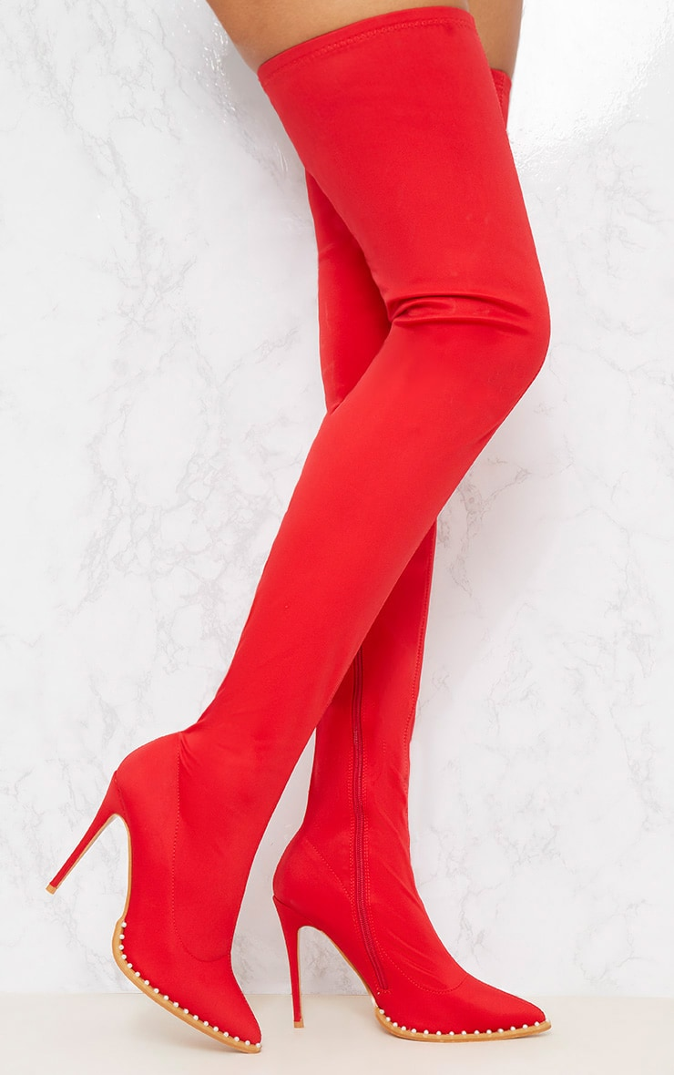 Red Neoprene Pearl Embellished Thigh High Boot 1