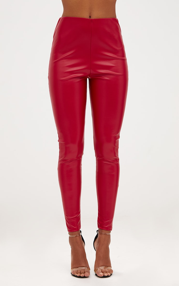 Red Faux Leather Highwaisted Leggings 2