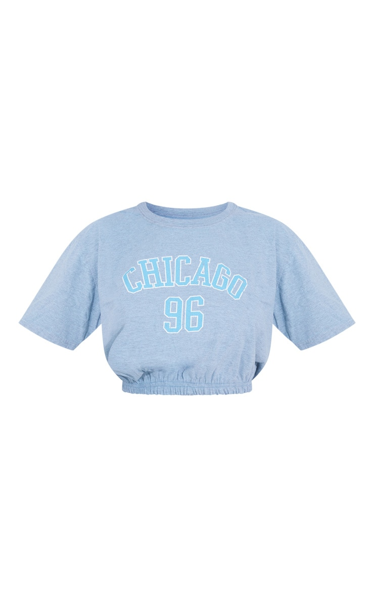 Aqua Chicago 96 Slogan Elastic Hem T Shirt 5