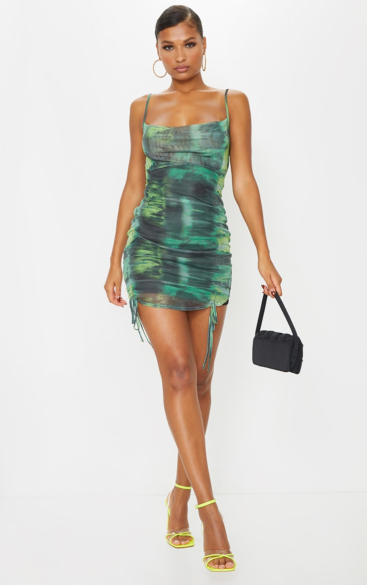 Green Tie Dye Print Strappy Ruched Tie Hem Bodycon Dress 3