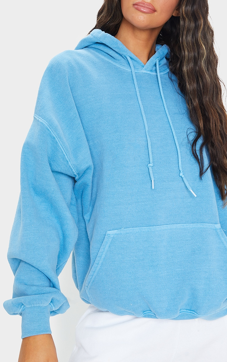 Petrol Blue Washed Oversized Hoodie 4