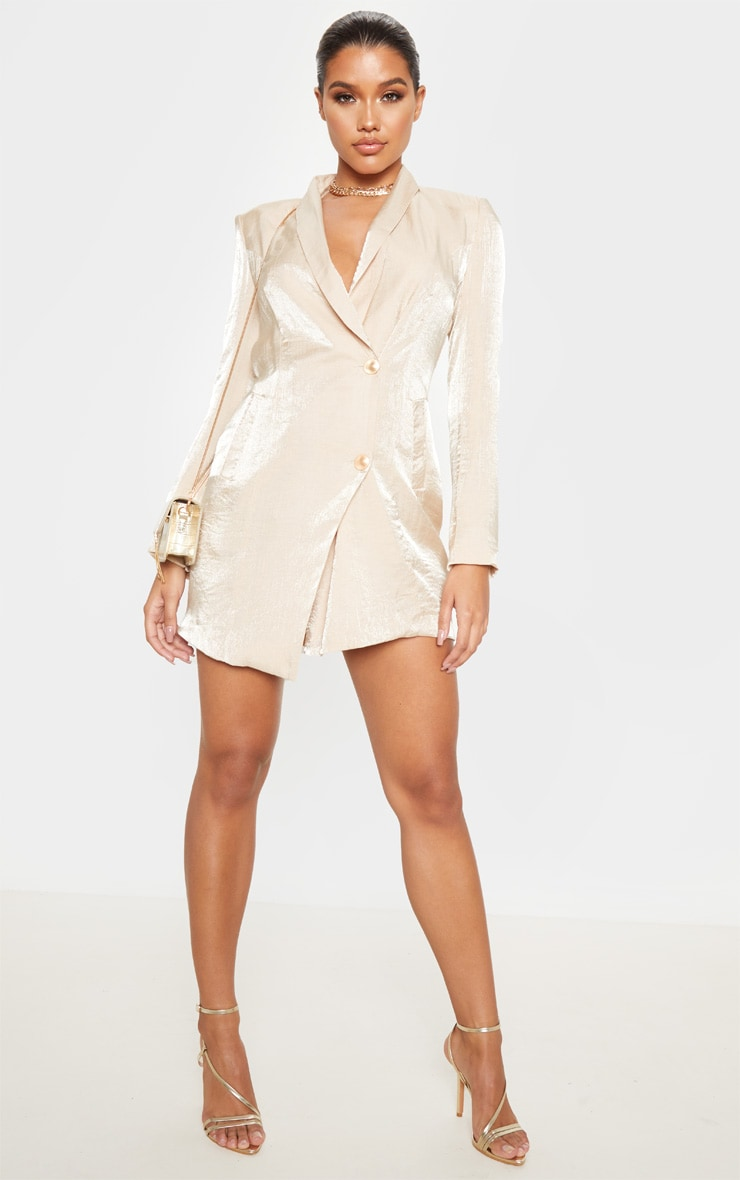 Champagne Pleated Shimmer Gold Button Blazer Dress 1