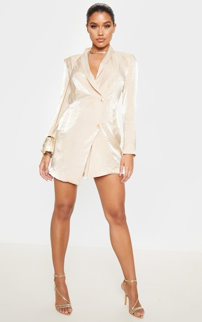 Champagne Pleated Shimmer Gold Button Blazer Dress