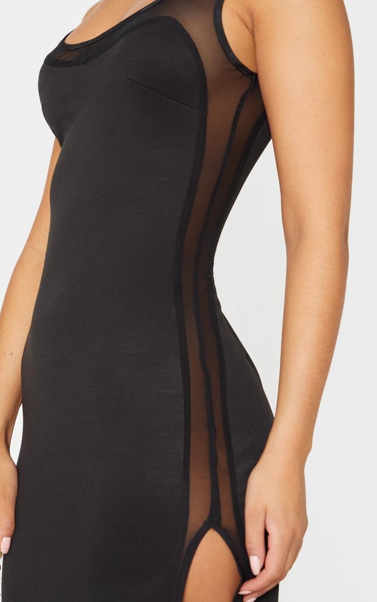 Black Sleeveless Mesh Insert Split Detail Maxi Dress 5
