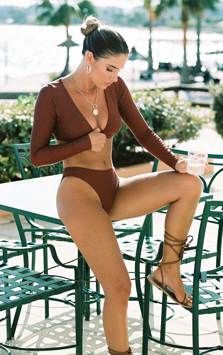 Deep Brown Mix & Match Underwired Long Sleeve Bikini Top 3