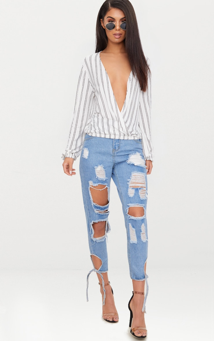 White Stripe Drape Front Long Sleeve Top 4