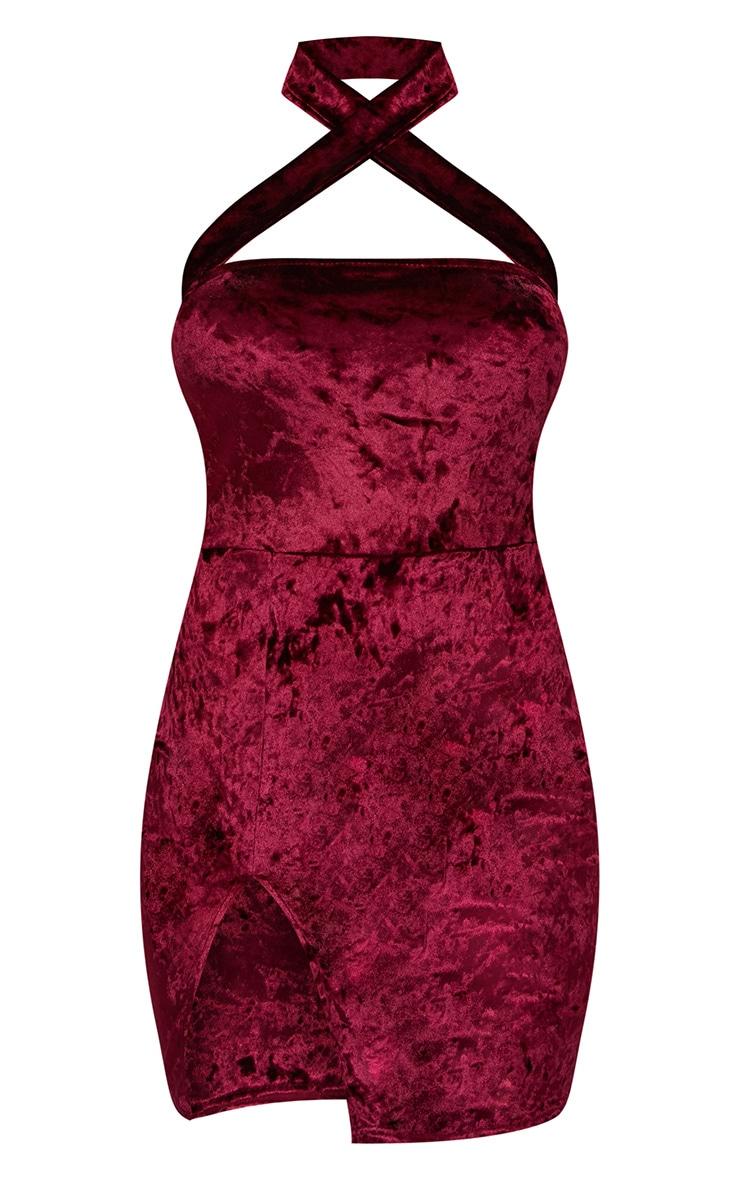 Burgundy Velvet Cross Neck Cut Out Bodycon Dress 3