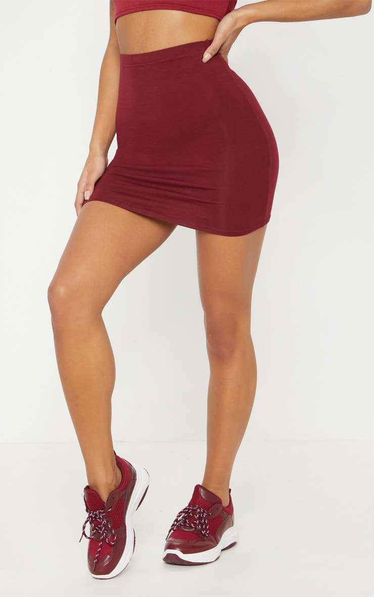 Burgundy Basic Jersey Mini Skirt 2