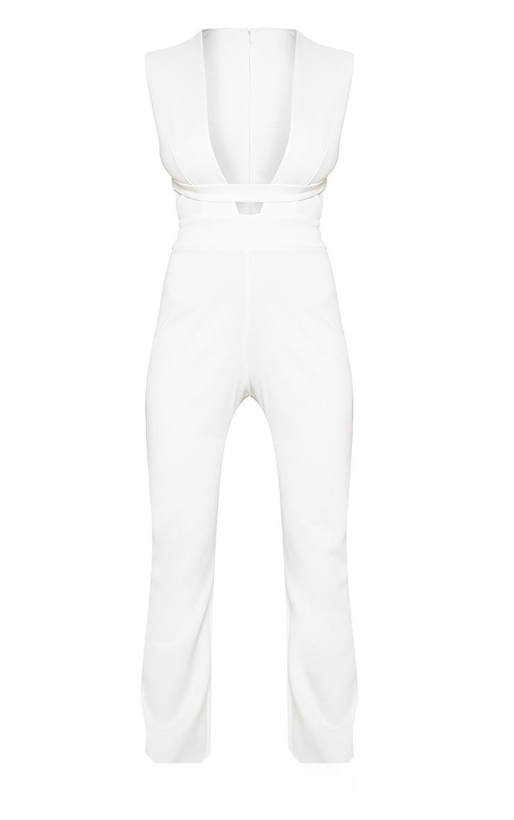 White Plunge Strap Jumpsuit 3