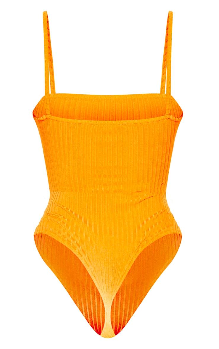Orange Rib Strappy Sleeveless Bodysuit 4