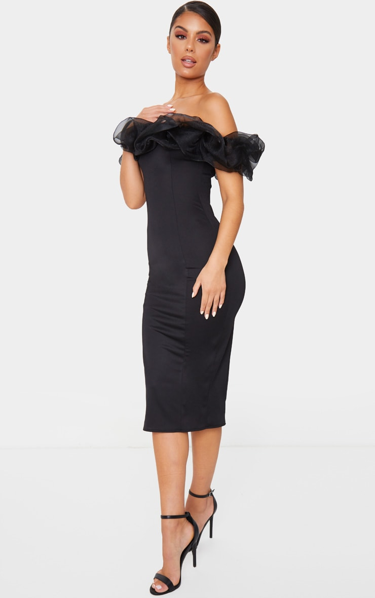 Black Organza Ruffle Bardot Midi Dress 3