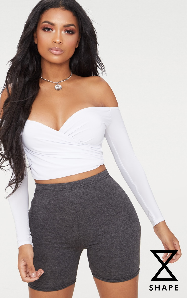 Shape White Slinky Bardot Crop Top