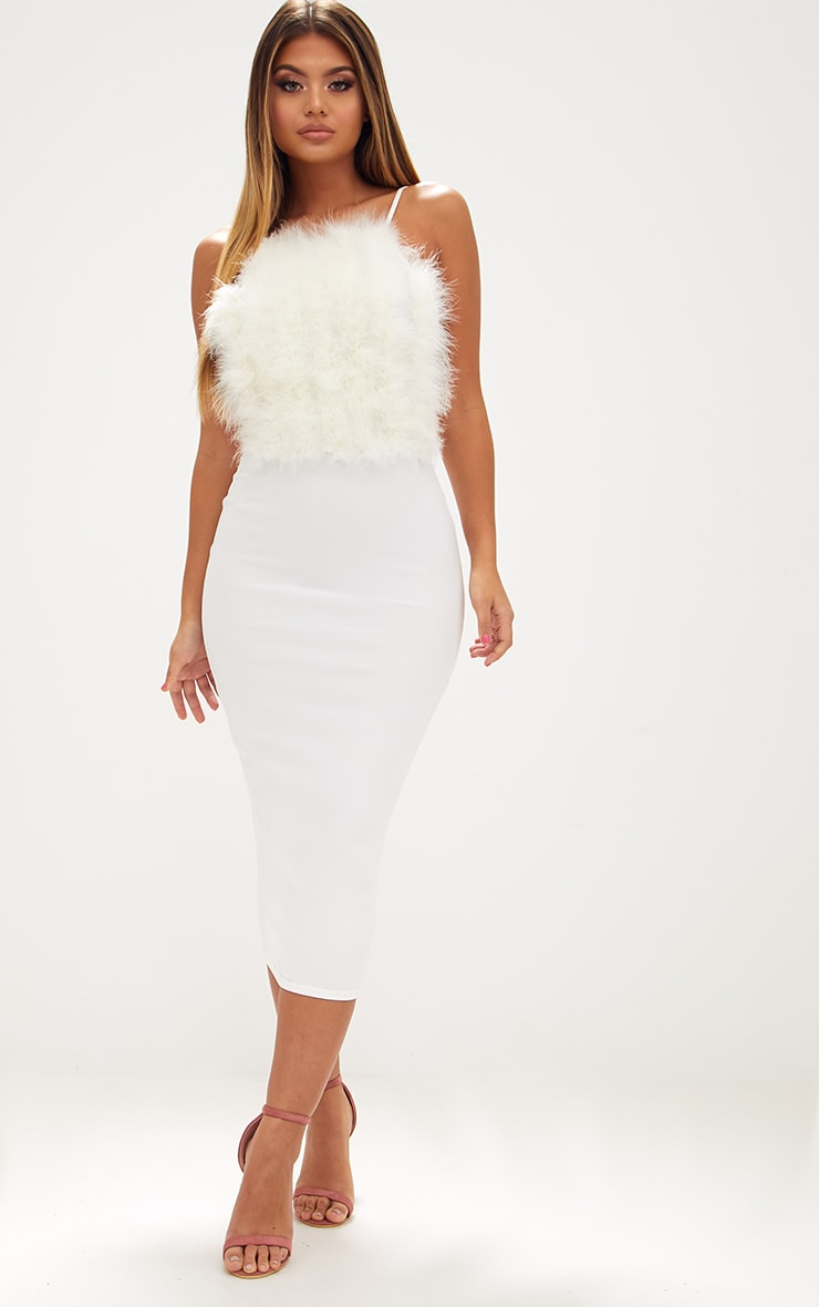 White Feather Bust Strappy Midi Dress 1