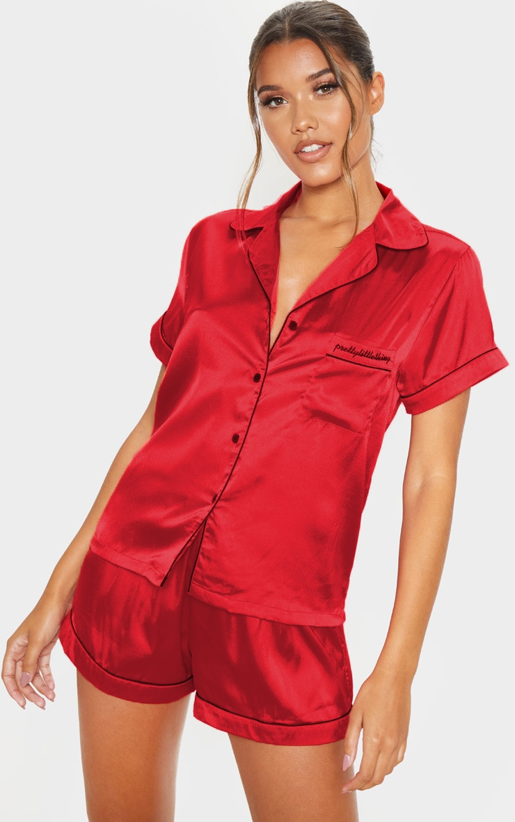 PRETTYLITTLETHIING RED SATIN POCKET PJ SET