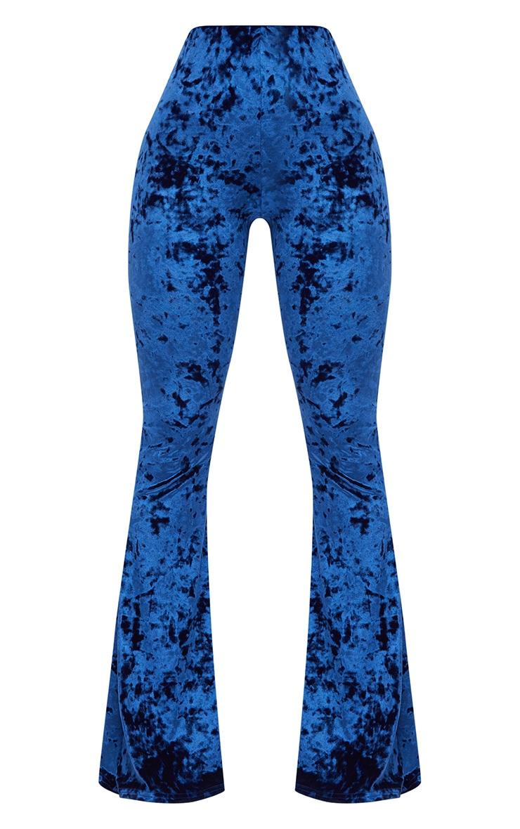 Shape Cobalt Crushed Velvet Flared Trousers 3