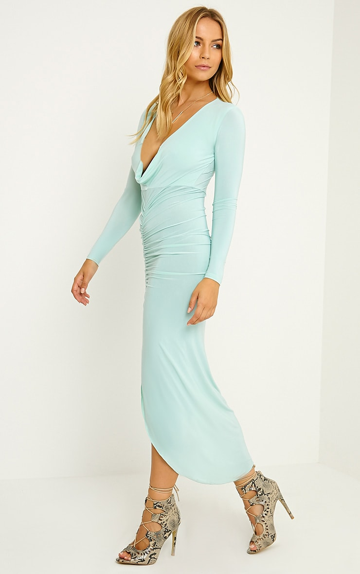 Ellie Mint Slinky Ruched Maxi Dress 4