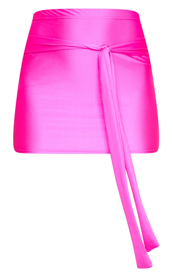 Hot Pink Disco Tie Front Mini Skirt 7