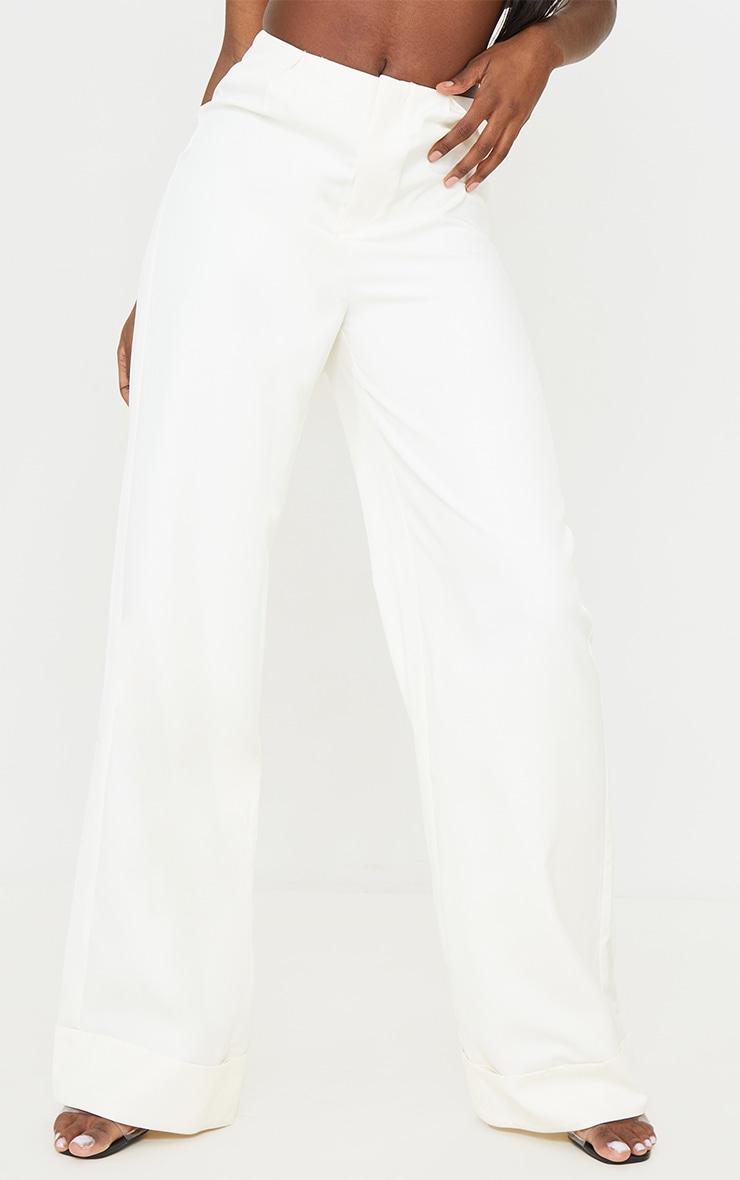 Tall White Woven Turn Up Hem High Waisted Pants 2