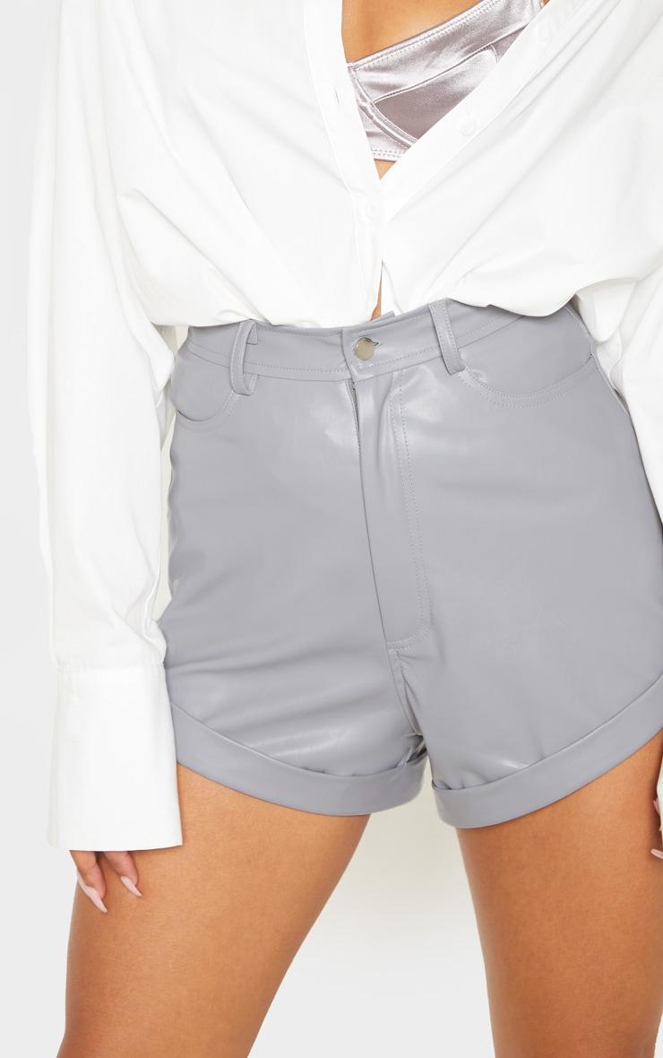 Lead Grey Faux Leather Turn Up Hem Shorts 6