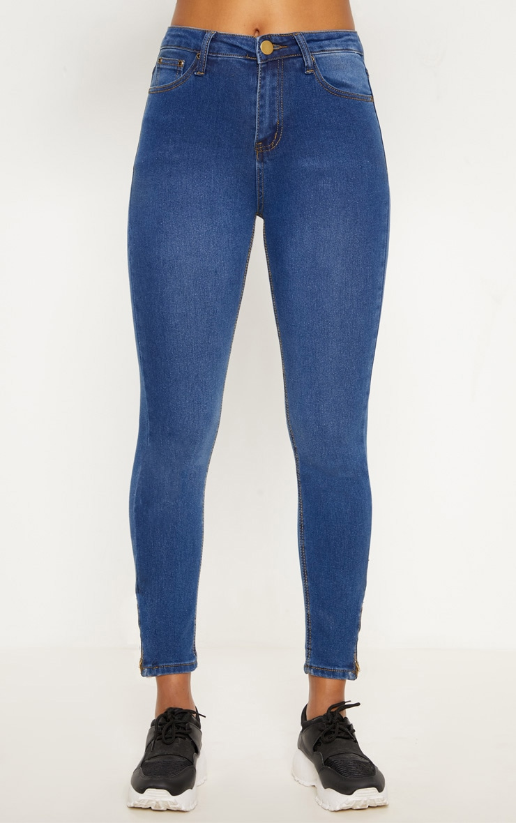 Mid Blue Wash High Waisted 5 Pocket Skinny Jean 2